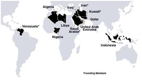Figure 3 OPEC member countries.