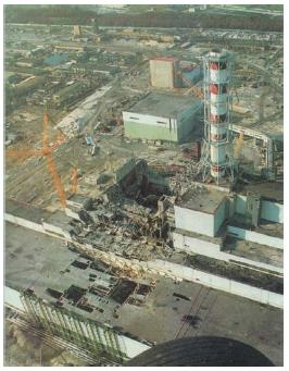 Figure 7 Chernobyl nuclear power plant after the nuclear explosion.