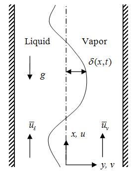 Figure 2 Kelvin-Helmholtz instability in vertical liquid-vapor interface for concurrent flow.