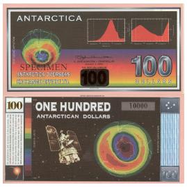 Figure 4 The Antarctican one hundred dollar bill signifies the ozone depletion problem over the continent.