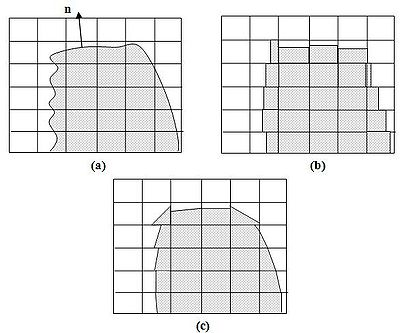 Figure 2 (a) An actual interface between two phases, (b) an interfacial representation using the Donor-Acceptor scheme, and (c) a piecewise linear reconstruction scheme with the VOF method